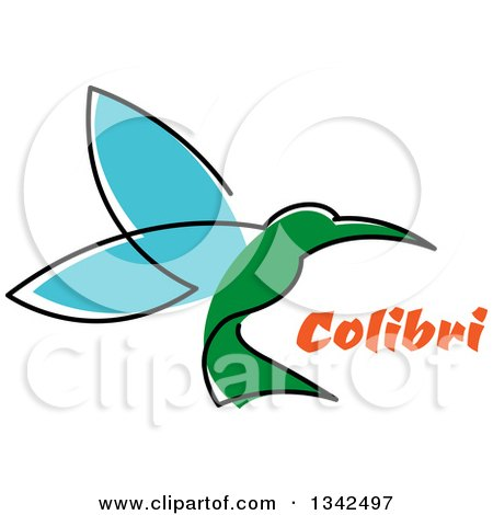 Clipart of a Sketched Green and Blue Hummingbird and Orange Text - Royalty Free Vector Illustration by Vector Tradition SM