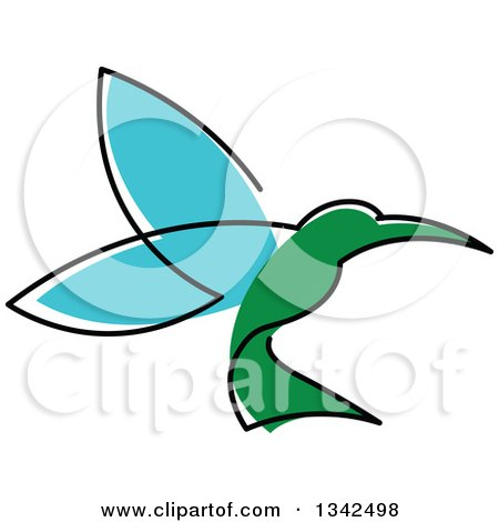 Clipart of a Sketched Green and Blue Hummingbird - Royalty Free Vector Illustration by Vector Tradition SM