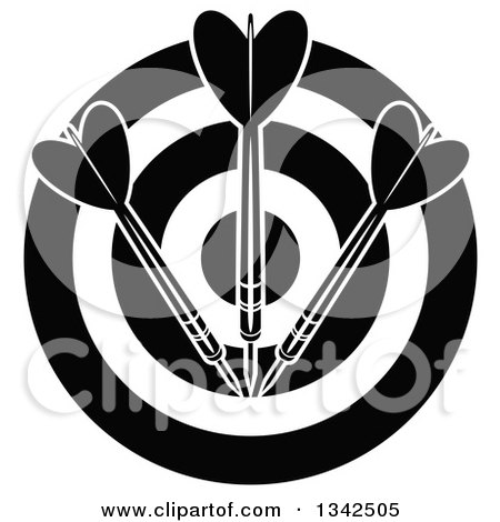Clipart of a Black and White Target with Darts - Royalty Free Vector Illustration by Vector Tradition SM