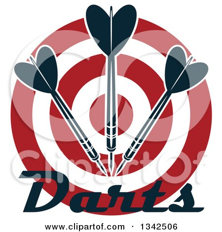 Clipart of a Red and White Target with Darts and Text - Royalty Free Vector Illustration by Vector Tradition SM