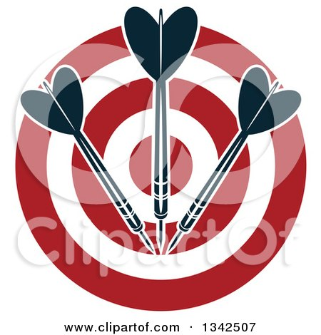 Clipart of a Red and White Target with Darts - Royalty Free Vector Illustration by Vector Tradition SM