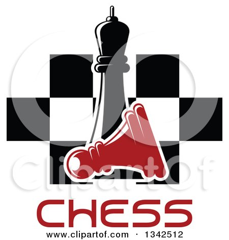 Clipart of a Black Chess Queen over a Fallen Red Pawn, Text and a Board - Royalty Free Vector Illustration by Vector Tradition SM