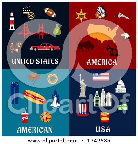 Clipart of American Travel and Food Designs - Royalty Free Vector Illustration by Vector Tradition SM