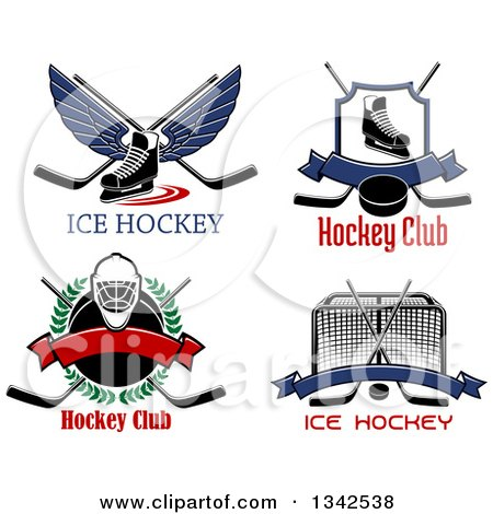 Clipart of Text and Ice Hockey Sports Designs - Royalty Free Vector Illustration by Vector Tradition SM