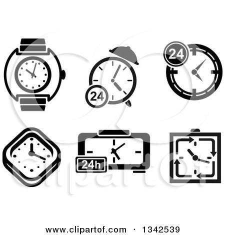 Clipart of Black and White Watches, Clocks and Timers - Royalty Free Vector Illustration by Vector Tradition SM