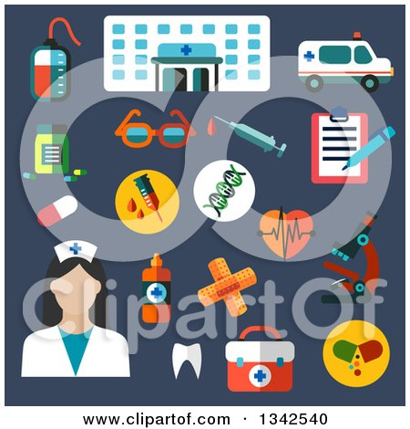 Clipart of a Flat Design Female Nurse and Hospital Icons on Blue - Royalty Free Vector Illustration by Vector Tradition SM