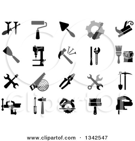 Clipart of Black and White and Grayscale Tool Icons - Royalty Free Vector Illustration by Vector Tradition SM