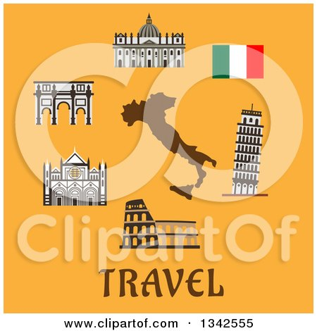 Clipart of Italy Travel Items over Text on Yellow - Royalty Free Vector Illustration by Vector Tradition SM