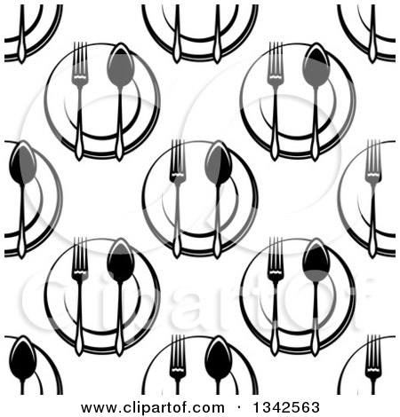 Clipart of a Seamless Background Design Pattern of Black and White Plates, Spoons and Forks - Royalty Free Vector Illustration by Vector Tradition SM