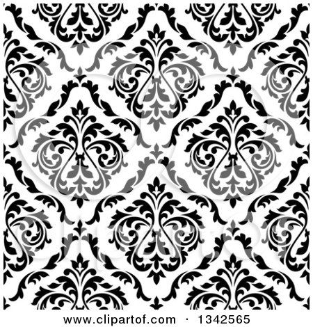 Clipart of a Seamless Pattern Background of Vintage Damask in Black on White 4 - Royalty Free Vector Illustration by Vector Tradition SM