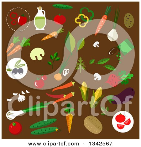 Clipart of Flat Design Vegetables on Brown - Royalty Free Vector Illustration by Vector Tradition SM