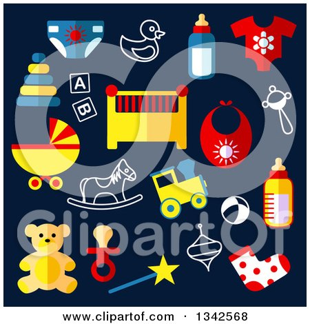 Clipart of Flat Design Baby Toys over Navy Blue - Royalty Free Vector Illustration by Vector Tradition SM