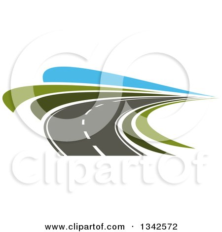 Clipart of a Curving Two Lane Road with Green Grass and Blue Sky - Royalty Free Vector Illustration by Vector Tradition SM
