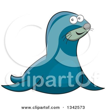 clipart of a cartoon happy blue seal royalty free vector rh clipartof com Fire Emblem Selkie Irish Selkie