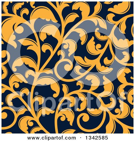 Clipart of a Seamless Background Pattern of Yellow Vintage Floral Scrolls on Navy Blue 2 - Royalty Free Vector Illustration by Vector Tradition SM
