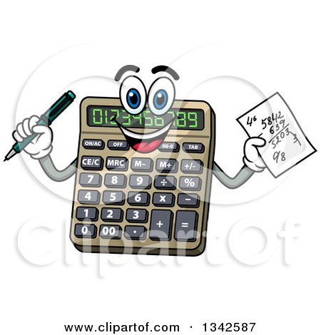 https://images.clipartof.com/small/1342587-Clipart-Of-A-Cartoon-Calculator-Character-Holding-A-Math-Problem-Royalty-Free-Vector-Illustration.jpg Math Calculator Cartoon