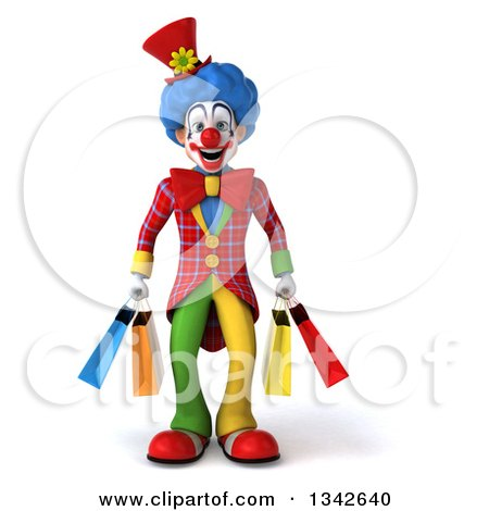 Clipart of a 3d Colorful Clown Carrying Shopping Bags - Royalty Free Illustration by Julos