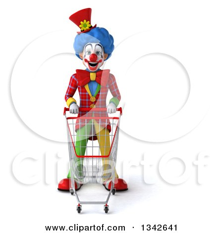 Clipart of a 3d Colorful Clown Standing with a Shopping Cart - Royalty Free Illustration by Julos