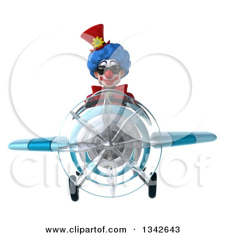 Clipart of a 3d Colorful Clown Wearing Sunglasses and Flying a Blue Airplane - Royalty Free Illustration by Julos