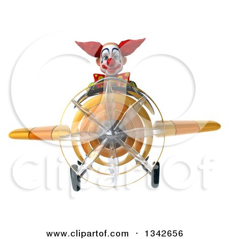Clipart of a 3d Funky Clown Flying a Yellow Airplane - Royalty Free Illustration by Julos