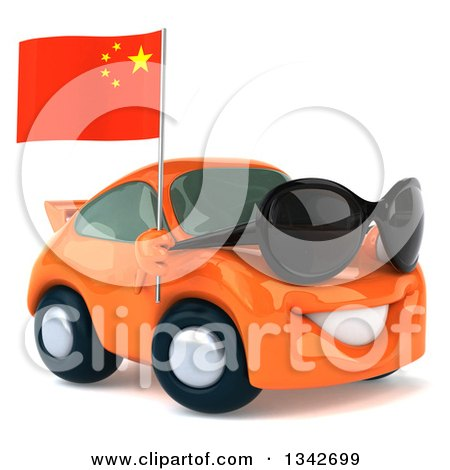 Clipart of a 3d Orange Porsche Car Wearing Sunglasses, Facing Slightly Right and Holding a Chinese Flag - Royalty Free Illustration by Julos