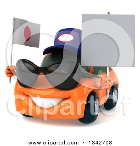 Clipart of a 3d Orange Porsche Mechanic Car Wearing Sunglasses, Facing Slightly Left, Holding a Blank Sign and a Japanese Flag - Royalty Free Illustration by Julos