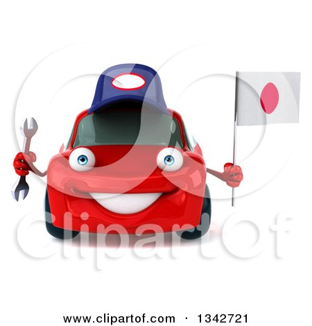 Clipart of a 3d Red Porsche Mechanic Car Holding a Wrench and a Japanese Flag - Royalty Free Illustration by Julos
