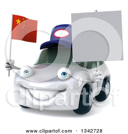 Clipart of a 3d White Porsche Mechanic Car Facing Slightly Left, Holding a Blank Sign and a Chinese Flag - Royalty Free Illustration by Julos