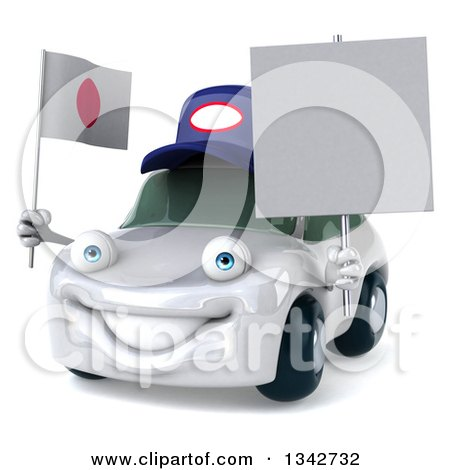 Clipart of a 3d White Porsche Mechanic Car Facing Slightly Left, Holding a Blank Sign and a Japanese Flag - Royalty Free Illustration by Julos