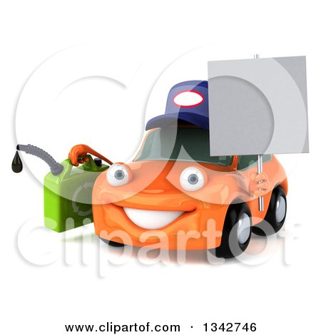 Clipart of a 3d Orange Mechanic Car Facing Slightly Left, Holding a Gas Can and Blank Sign - Royalty Free Illustration by Julos