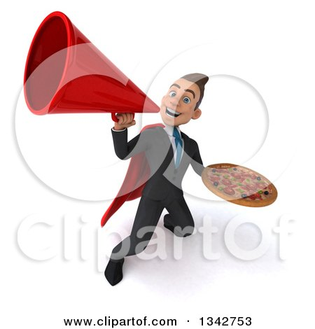 Clipart of a 3d Young Super White Businessman Holding a Pizza and Announcing Upwards with a Megaphone - Royalty Free Illustration by Julos