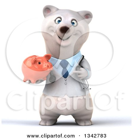 Clipart of a 3d Happy Polar Bear Doctor or Veterinarian Holding and Pointing to a Piggy Bank - Royalty Free Illustration by Julos