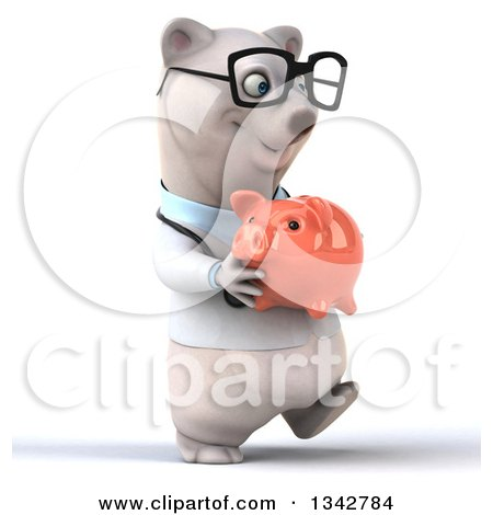 Clipart of a 3d Bespectacled Happy Polar Bear Doctor or Veterinarian Holding a Piggy Bank and Walking Slightly to the Right - Royalty Free Illustration by Julos