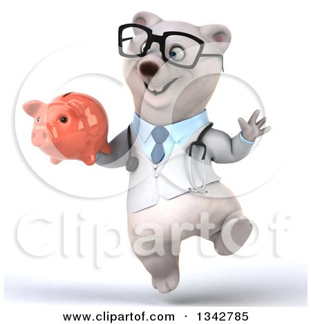 Clipart of a 3d Bespectacled Happy Polar Bear Doctor or Veterinarian Holding a Piggy Bank and Jumping - Royalty Free Illustration by Julos