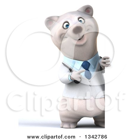 Clipart of a 3d Full Length Happy Polar Bear Doctor or Veterinarian Pointing Around a Sign - Royalty Free Illustration by Julos