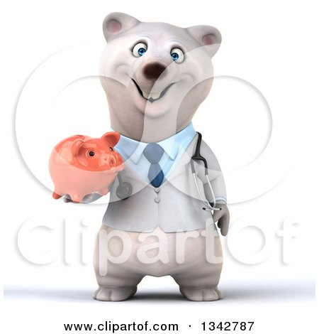 Clipart of a 3d Happy Polar Bear Doctor or Veterinarian Holding a Piggy Bank - Royalty Free Illustration by Julos