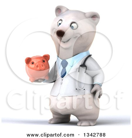 Clipart of a 3d Happy Polar Bear Doctor or Veterinarian Facing Slightly Left and Holding a Piggy Bank - Royalty Free Illustration by Julos
