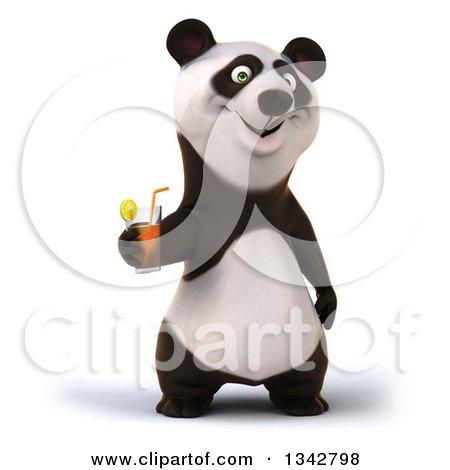 Clipart of a 3d Happy Panda Holding a Beverage - Royalty Free Illustration by Julos