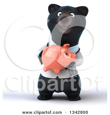 Clipart of a 3d Black Bear Veterinarian or Doctor Holding a Piggy Bank - Royalty Free Illustration by Julos