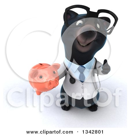 Clipart of a 3d Bespectacled Black Bear Veterinarian or Doctor Holding up a Thumb and a Piggy Bank - Royalty Free Illustration by Julos