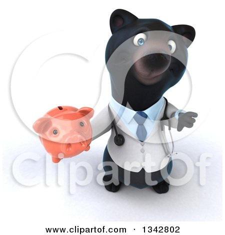 Clipart of a 3d Black Bear Veterinarian or Doctor Holding up a Thumb down and a Piggy Bank - Royalty Free Illustration by Julos