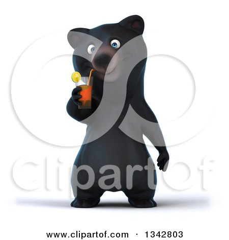 Clipart of a 3d Happy Black Bear Drinking a Beverage - Royalty Free Illustration by Julos