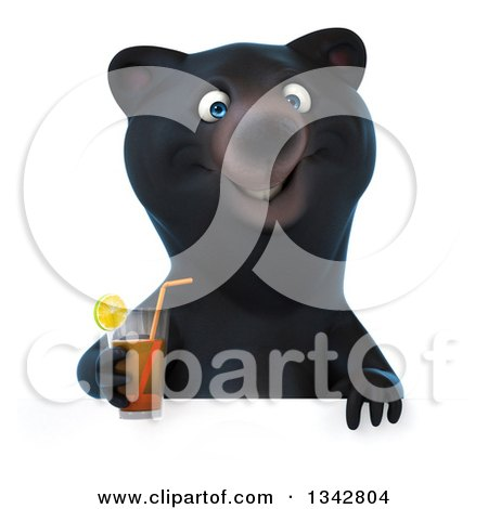 Clipart of a 3d Happy Black Bear Holding a Beverage over a Sign - Royalty Free Illustration by Julos