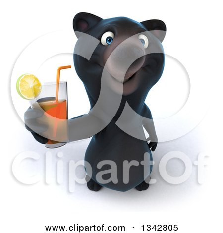 Clipart of a 3d Happy Black Bear Holding up a Beverage - Royalty Free Illustration by Julos