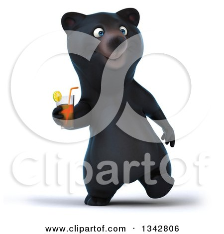 Clipart of a 3d Happy Black Bear Walking and Holding a Beverage - Royalty Free Illustration by Julos