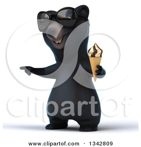 Clipart of a 3d Happy Black Bear Wearing Sunglasses, Facing Slightly Left, Pointing and Holding a Waffle Ice Cream Cone - Royalty Free Illustration by Julos