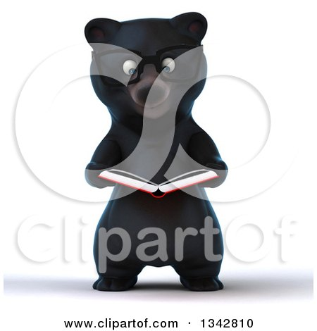 Clipart of a 3d Bespectacled Happy Black Bear Reading a Book - Royalty Free Illustration by Julos