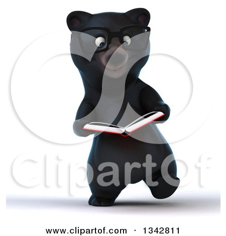 Clipart of a 3d Bespectacled Happy Black Bear Walking and Reading a Book - Royalty Free Illustration by Julos