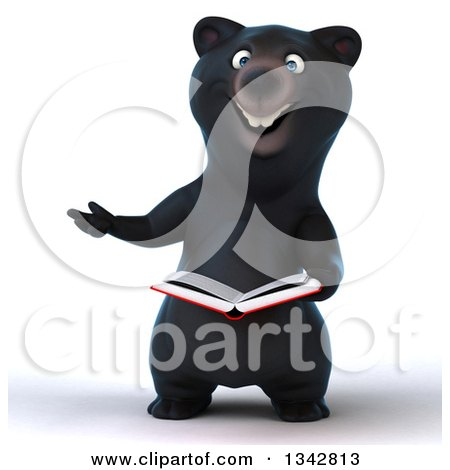 Clipart of a 3d Happy Black Bear Presenting and Reading a Book - Royalty Free Illustration by Julos