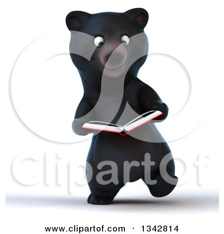 Clipart of a 3d Happy Black Bear Walking and Reading a Book - Royalty Free Illustration by Julos